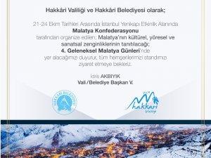 Hakkari Malatya tanıtım günlerine davet edildi