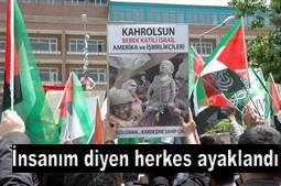 VAN`DA BİNLER İSRAİLİ PROTESTO ETTİ