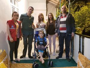 Engelli Dayan'nın tekerlekli sandalye sevinci