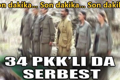 34 PKK Lİ SERBEST BIRAKILDI