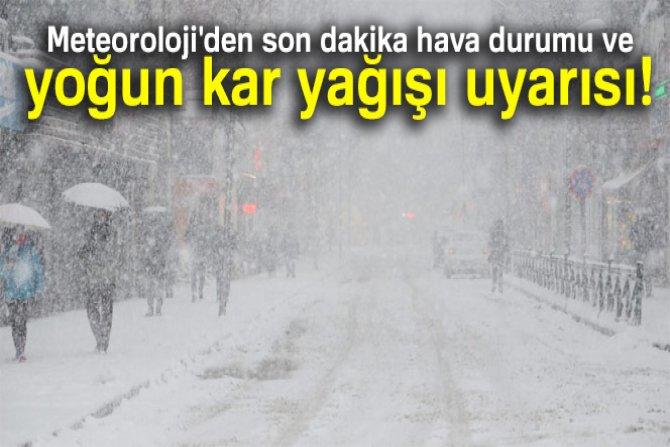 15 kasım yoğun kar yağışı uyarısı!