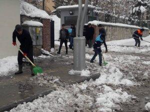 Hakkari belediyesinin kar timleri görev başında