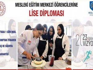 Meslek eğitim merkezi öğrencilerine lise diploması