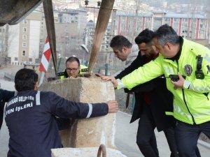 Merzan virajına beton bariyer bırakıldı