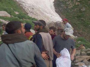 Dağdan düşen kayalar 20 hayvanı telef etti
