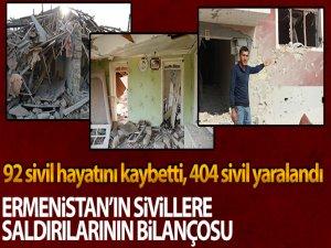 Ermenistan'ın saldırılarıların'da 92 sivil hayatını kaybetti, 404 kişi yaralandı.