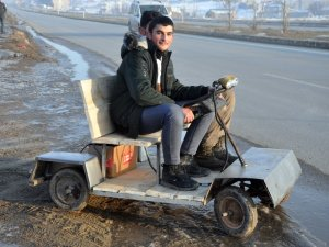 Yüksekovalı Mucit elektrikli araç yaptı