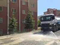 Toki'nin tozlu yolları tazyikli suyla yıkandı