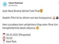 Hakkari'de açık hava sineması finali yapıldı