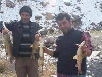 Hakkarili gençlerin ilginç balık avlama taktiği