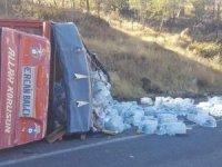 Freni patlayan kamyonet devrildi