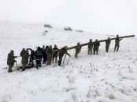 Başkale'de kar yağışı ve fırtına ekili oldu