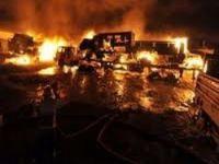 PKK yol kesip kamyon yaktı