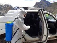 Hakkari'de araçlar dezenfekte edildi